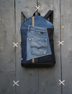 Large denim backpack for men with many other pockets, upcycled rucksack using men's jeans by EatingTheGoober on Etsy https://www.etsy.com/listing/505470096/large-denim-backpack-for-men-with-many