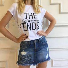 Closet Lit: Blusa tee e Saia Jeans