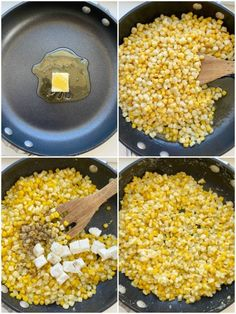 Honey Butter Skillet Corn is an easy 15 minute side dish with frozen corn, honey, butter, and cream cheese! So creamy, sweet, and delicious.