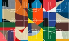 Abstract painter William LaChance designs St Louis basketball court for Project Backboard St Louis Basketball, Basketball Court Size, Lanscape Design, St Louis Mo, Abstract Painters, Mural Art, American Artists, New Art, Playground