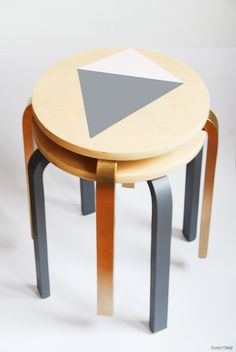 IKEA Frosta stool is a great piece that can be hacked in a thousand ways and turned in almost anything. Ikea Stool, Diy Stool, Ikea Hacks, Frosta Ikea, Ikea Kallax, Indian Home Decor, Diy Home Decor, Furniture Makeover, Diy Furniture
