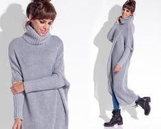 Długi sweter z golfem F343 - fobya - Kardigany