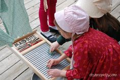 Pioneer Day activity that kids love - wash clothes on an old fashioned washboard then pin on a clothesline to dry. Use small rags or you can cut out shapes that look like clothes such as shirts from scrap fabric.