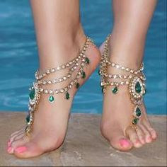 42 Trending Fashion High Heels To Look Cool - Shoes Styles & Design Ankle Jewelry, Ankle Bracelets, Body Jewelry, Jewellery, Toe Ring Designs, Barefoot Sandals Wedding, Footless Sandals, Ankle Chain, Jeweled Sandals