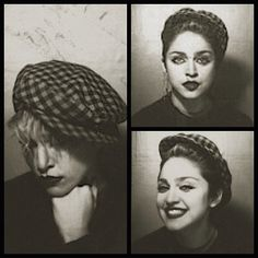 "amen-madonna:  #Madonna in photo booth in Times Square 1982 for #MartinBurgoyne BurningUp/Physical Attraction 12"" That hat"