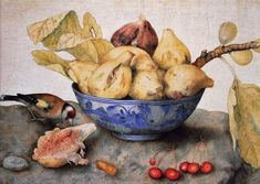 Giovanna Garzoni (Italian Baroque Era Painter, 1600-1670) Chinese Bowl with Figs, Cherries, and a Bird (700x497, 146Kb)