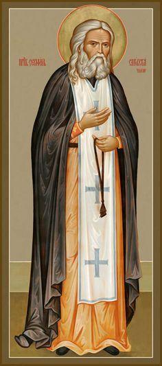 St Seraphim of Sarov January) Confession is the voluntary and sincere… Orthodox Catholic, Catholic Saints, Byzantine Icons, Byzantine Art, Religious Icons, Religious Art, Church Icon, Russian Icons, Orthodox Icons