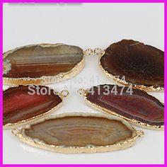 cor aleatória natureza pedra nova chegada fina ágata pedra charme lado de ouro conector U$ 32.94