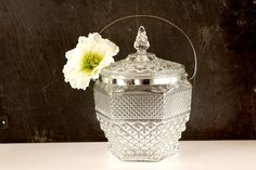 Vintage Large Glass Ice Bucket with Lid and Silver by ThirdShift