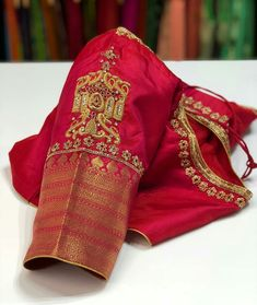 Custom made blouse for our beautiful bride Thurka Wedding Saree Blouse Designs, Pattu Saree Blouse Designs, Fancy Blouse Designs, Saree Wedding, Wedding Blouses, Bridal Silk Saree, Silk Sarees, Blouse Back Neck Designs, Maggam Work Designs