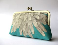 LOVE: Chrysanthemum  silk lined aqua clutch by  Bag Noir by BagNoir, $65.00