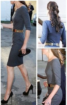 The Art of Accessorizing from HelenHou.com-Kate Middleton wore Grey Amanda Wakeley Sculpted Dress in details