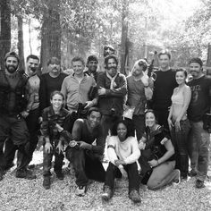 Chiwetel Ejiofor and Michael Fassbender paintballing with the 12 Years a Slave crew. Can I see Daddy Fassy? :-)