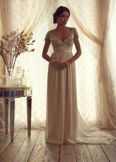 Seductive V-Neck Embellished Top with Unique Back Rhinestones and Pearls Chiffon Bottom Ivory Custom Bridal Wedding Dress on Etsy, $529.00