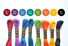My officially chosen signature colors. Dmc Embroidery Floss, Ribbon Embroidery, Cross Stitch Designs, Cross Stitch Patterns, Color Lavanda, Yarn Color Combinations, Cross Stitch Floss, Wild Olive, Diy Friendship Bracelets Patterns