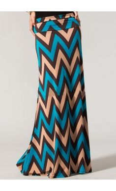 Bolded chevron print maxi skirt for women