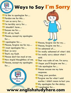 29 Ways to Say I'm Sorry in English - English Study Here - English idioms - New education Learn English Grammar, English Vocabulary Words, Learn English Words, English Phrases, English Idioms, English Study, English Lessons, English English, French Lessons