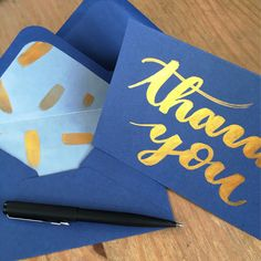 Blue and gold thank you card, hand lettered card, thank you note, Wedding thanks card, thank you, brush lettering calligraphy, unique card by Preposterouspigeon on Etsy https://www.etsy.com/uk/listing/587182616/blue-and-gold-thank-you-card-hand