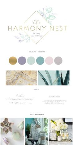 Calming colour palette with hint of gold for premium/luxury slant