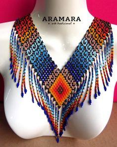 Mexican Huichol Beaded Tribal Necklace COG-0017 Mexican от Aramara