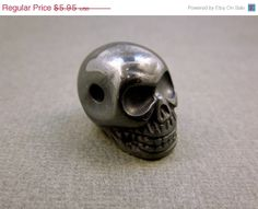 10 off Mothers Day SALE Skull Bead Grey by jewelersparadise, $5.36