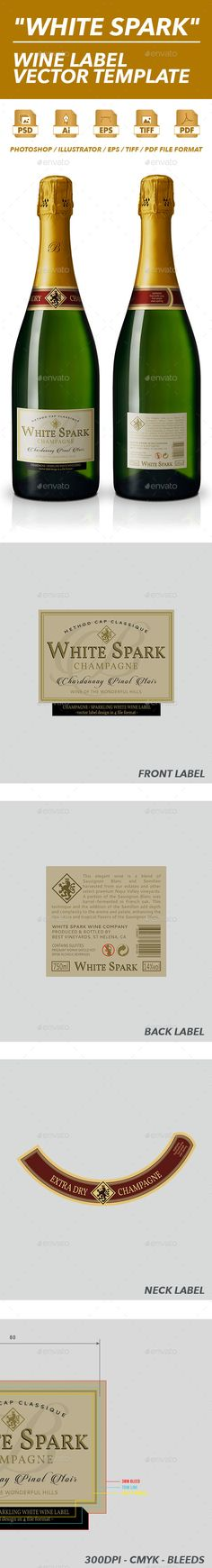 White Wine Label Vector Template Print templates, Template and - label design templates