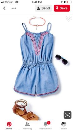 Embellished chambray + soft faux suede accessories = a look all her own! Kids Outfits Girls, Cute Girl Outfits, Girls Fashion Clothes, Tween Fashion, Little Girl Fashion, Cute Summer Outfits, Dress Outfits, Tween Girls, Dresses Dresses