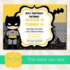 Batman Invitation Batman Birthday Party By PiperGraceDigital