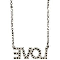 """Zadig et Voltaire Women's \""""Love\"""" Charm Necklace (350 RON) ❤ liked on Polyvore featuring jewelry, necklaces, silver, heart chain necklace, charm jewelry, lobster clasp charms, lobster clasp necklace and white jewelry"""