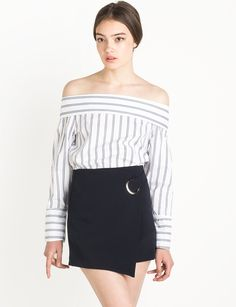 stripe off the shoulder shirt #fashion #pixiemarket