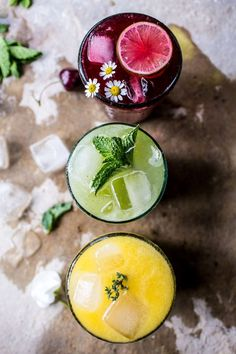 Summer Sodas 3 Ways - 3 super refreshing, healthy, ice cold summer drinks topped with kombucha or sparking water - wow! From halfbakedharvest.com