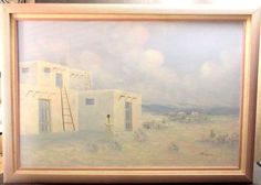 XL-JOSE-ARICOPA-SOUTH-WESTERN-OIL-PAINTING-On-Canvas-ADOBE-TAOS-PUEBLO