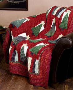 Christmas Tree Afghan Crochet Pattern from Caron Yarn | FaveCrafts.com