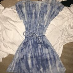 Loft denim bleach dress Short sleeve. To your knees. Tie can go in front or back ! Worn once. LOFT Dresses