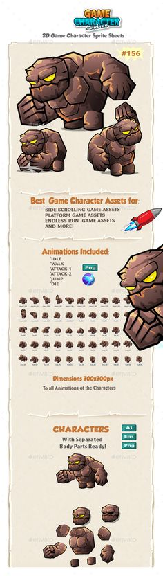 ▨ [Get Nulled]▰ Monster Stone Giant Game Character Sprites Action Actions Adventure Android Animation Android Animation, Game 2d, Shooting Games, Game Character Design, Game Assets, Information Graphics, Fighting Games, Mobile Game, Best Games
