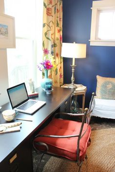 navy blue walls home office