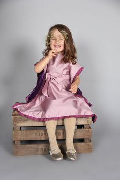 Butterfly dress -  Butterfly dress in rose pink with sash and plum chiffon frilling.