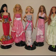 Red carpet ready! Ooak Barbie doll dresses made from vintage hankies