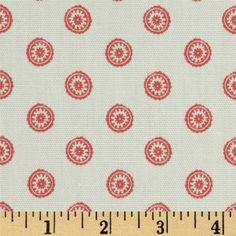 Premier Prints Chelsea White/Coral Fabric, $7.48/yd