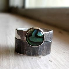Rustic Distressed Sterling Abalone Rings $55