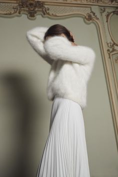 Civil Collection - Hand-knit in the South West, this Angora jumper will slip on over the Grés and Diptyque skirts for a casual yet unfailingly stylish look. Dresses To Wear To A Wedding, Bridal Dresses, White Outfits, Classy Outfits, Mode Outfits, Fashion Outfits, Winter Bride, Angora Sweater, Korean Girl Fashion