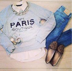 Cute way to dress up a sweatshirt ;)
