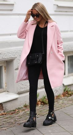 """""""Bubblegum Life"""" Long Tie Waist Oversized Pink Coat"""