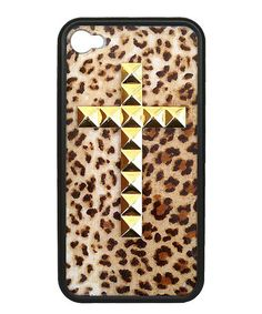 Love this Leopard Gold Cross Case for iPhone 4/4s by Wildflower on #zulily! #zulilyfinds