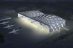Für den neuen Airbus 380 und andere Großraumflugzeuge wird ein Hangar geplant. Aufgrund einer Tragwerksstruktur, die den Lastverlauf des weitüberspannenden Dachs nachzeichnet, entsteht ein neuer Hallentypus.