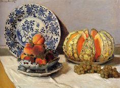 "Claude Monet - Mia Feigelson Gallery ""Still Life with melon"" (1872) By Claude Monet, from Paris (1840 – 1926) - oil on canvas; 53 x 73 cm - © Museu Calouste Gulbenkian, Lisbon, Portugal http://museu.gulbenkian.pt/Museu/pt/Inicio"