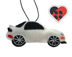 White RX7 FD3S Felt Car Christmas Ornament. Handmade by HeartfeltRacing
