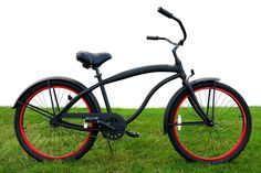 http://pacificbeachbikes.com/wp-content/uploads/2012/03/Mens-Greenline-Flat-Black-with-Red-Rims-Aluminum-Frame-Beach-Cruiser.jpg