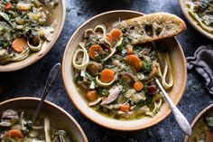 Winter Vegetable Chicken Noodle Soup with Asiago Crostini | halfbakedharvest.com…