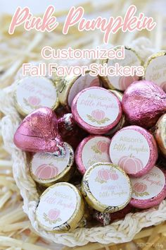 Check out our personalized pink and gold pumpkin party favor stickers made to match pink and gold fall themed decorations and party supplies. Little pumpkin theme is great for decorating a fall baby shower or autumn bachelorette party! #LittlePumpking #PinkPumpkin Baby Shower Food For Girl, Baby Shower Purple, Baby Shower Brunch, Girl Baby Shower Decorations, Baby Shower Fall, Fall Baby, Baby Shower Invites For Girl, Baby Shower Centerpieces, Gold Pumpkin